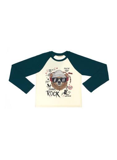 Katia & Bony Rock Yıldızı Bis Yaka Erkek Çocuk Tişört  Ekru